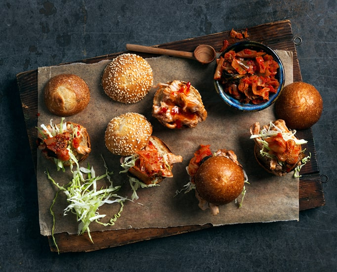 Spicy Pork Sliders with Kimchi