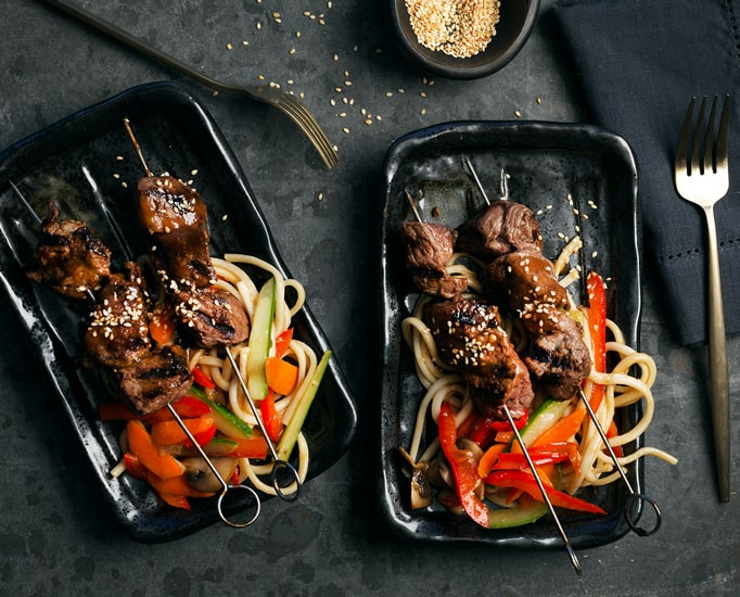 Korean BBQ Skewers with Spiced Noodles