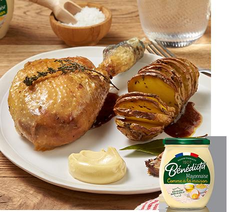 Poulet de Bresse comme en rôtisserie et ses pommes de terre suédoises