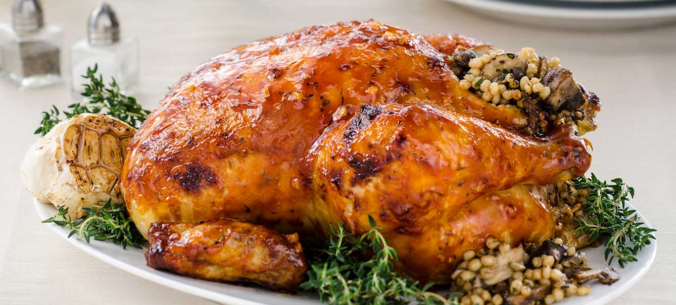 Roasted Chicken with Mushroom & Barley Stuffing.