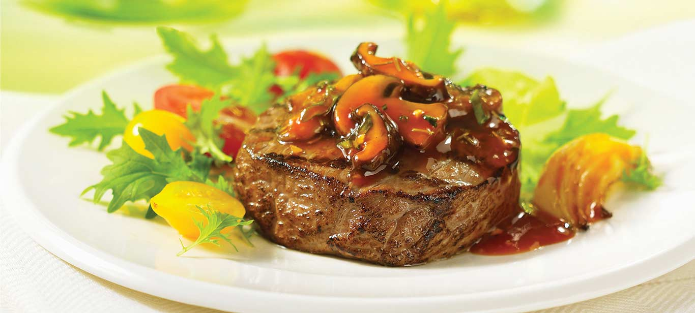 Glazed Beef Medallions with Mushrooms